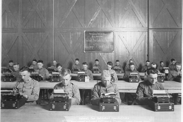 In this early photo, enlisted specialists hone their skills at Camp Vail, N.J., which later changed its name to Fort Monmouth.