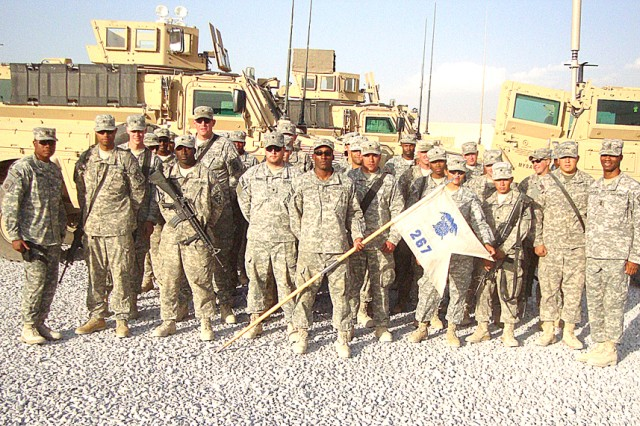 The 267th Quartermaster Company, 204 QM Battalion, 49th QM Group, poses for a picture.