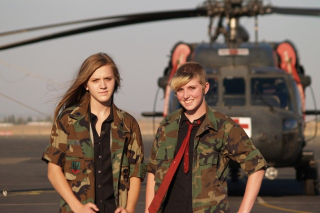 Moranda Hern, right, and Kaylei Deakin, co-founders of the Sisterhood of the Traveling BDUs. Moranda and Kaylei, both daughters of servicemembers, founded the Sisterhood to create a support group for teenage girls who have a family member in the military.