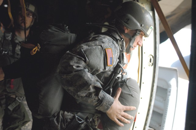 Students exit the aircraft at 1,250 feet above the drop zone.