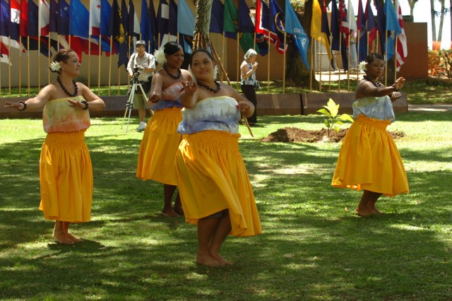 FORT DERUSSY, Hawaii -- Soldiers and family members perform a Hula dance following the Native Hawaiian Covenant signing between the local Hawaiian community and U.S. Army-Hawaii, here, March 24.