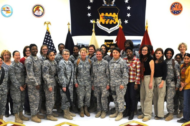 Gen. Ann E. Dunwoody, the commanding general of the Army Materiel Command and a Fort Belvoir, Va., resident, pauses for a picture with female Soldiers and civilians as part of Women's History Month, March 20 at Joint Base Balad, Iraq. Dunwoody came to JBB to discuss the progress of the upcoming responsible drawdown of personnel and equipment in Iraq.