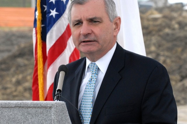 U.S. Sen. Jack Reed of Rhode Island speaks during the March 22 ground-breaking ceremony for the new Army Reserve Center at Naval Station Newport, R.I. The center is being built by the 99th RSC, which is headquartered at Joint Base McGuire-Dix-Lakehurst, N.J. (Photo by - Shawn Morris)