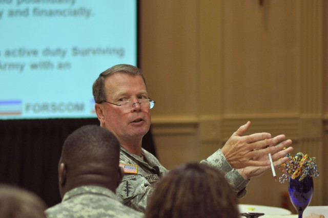 Gen. Charles C. Campbell, FORSCOM Commanding General, discusses quality-of-life issues with delegates during the closing session of the 2010 FORSCOM Army Family Action Plan Conference. FORSCOM's Well-Being Division hosted the conference in Atlanta March 24-26.