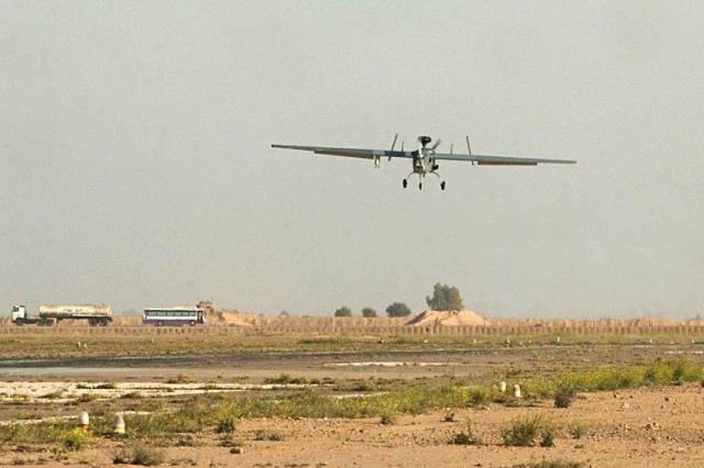 A Hunter Unmanned Aircraft System approaches for landing at Contingency Operating Base Speicher, near Tikrit, Iraq, March 14. The Hunter is maintained and operated by a team of aviation Soldiers with Troop F, 2nd Squadron, 6th Cavalry Regiment, Task Force Diamond Head and approximately 30 Northrop Grumman Corporation civilian contractors. (Photo by: Staff Sgt. Mike Alberts, 25th Combat Aviation Brigade Public Affairs)
