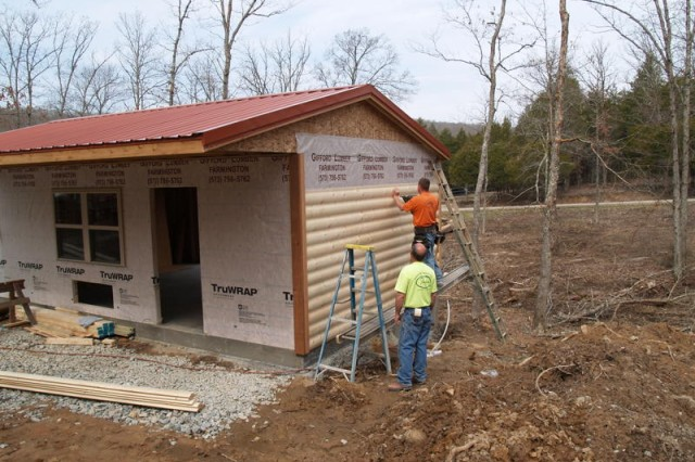 Local volunteers from Eastern Missouri Laborer's District Council & Laborer's Local 110 work on wheelchair-accessible cabins at Camp Hope near Farmington, Mo.