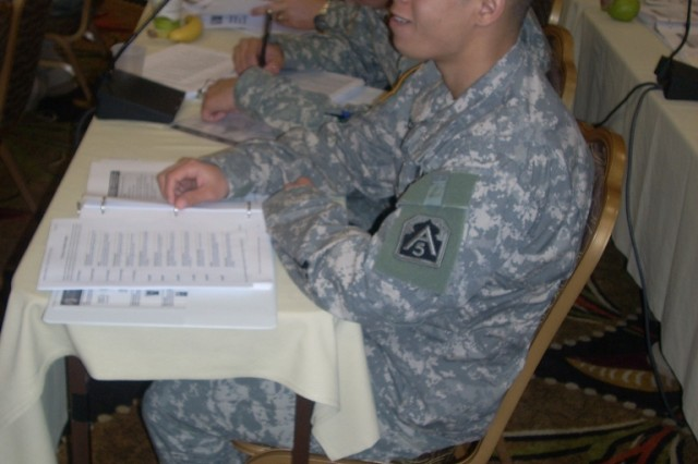 Staff Sgt. Richard Garcia, listens intently as an instructor discusses how character strengths makes a huge difference in personal and professional relationships during the Master Resiliency Training Course in Philadelphia, Pa., March 18. Garcia serves as an intelligence analyst with U.S. Army North.