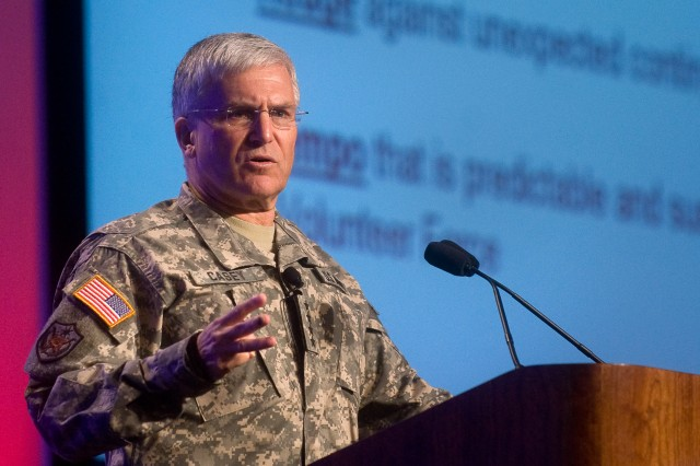 Chief of Staff of the Army Gen. George W. Casey Jr. addresses the audience at the Association of the United States Army's 2010 Army Installations Symposium & Exposition in San Antonio, Texas, March 29, 2010. The exposition is being held in conjunction with the Army's Installation Management Command campaign plan rollout conference.