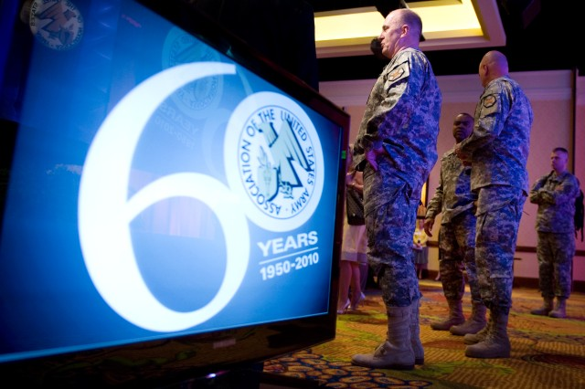 U.S. Army Installation Management Command (IMCOM) Commanding General Lt. Gen. Rick Lynch tours the exhibit floor at the Association of the United States Army's 2010 Army Installations Symposium & Exposition in San Antonio, Texas, March 29, 2010. The exposition is being held in conjunction with the Army's Installation Management Command campaign plan rollout conference.