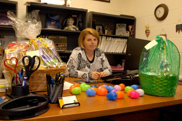 Mrs. Vicky Word, the 4th Sustainment Brigade Family Readiness Support Assistant, stored the majority of the 21,000 plastic eggs in her office for the unit's Easter Egg Hunt Mar. 27. (U.S. Army photo by Pfc. Amy M. Lane)
