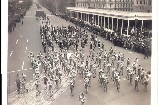 Leading the way from the U.S. Capitol, The U.S. Army Band makes its way along Pennsylvania Avenue.