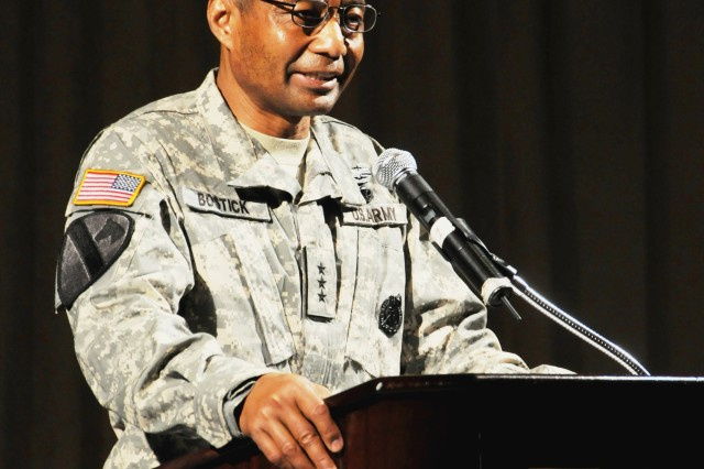 Lt. Gen. Thomas P. Bostick, deputy chief of staff for the Army's G-1, explains that sexual assault not only hurts its victims physically and emotionally, but it tears at the moral fiber that gives the Army its strength during the third annual Army Sexual Harassment/Assault Response and Prevention summit in Arlington, Va., Monday.