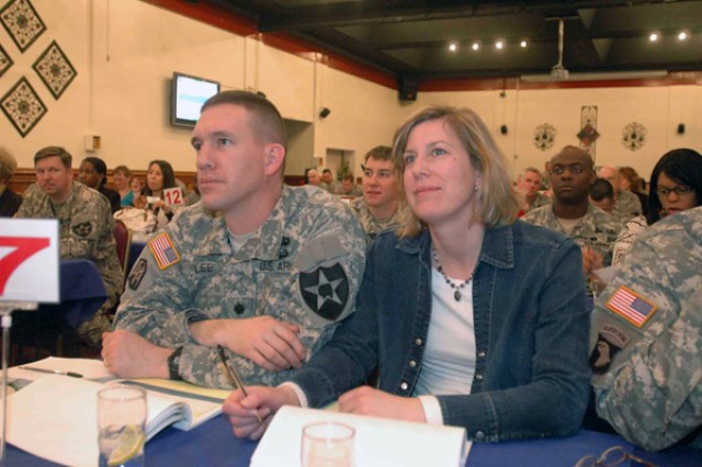 Lt. Col. David Lee, the commander of 1-38th FA and wife Kelly, head of the battalion FRG, exchange thoughts on a presentation delivered during the FRG Round-up conducted March 24 in the USAG-Casey Warrior's Club.