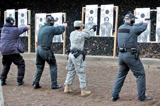 European and U.S. military and civilian law enforcers hone marksmanship skills at the Wackernheim Firing Range.