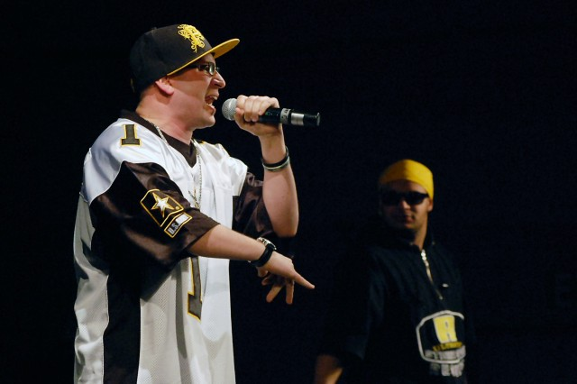 """Soldier Sgt. Danny """"BEE"""" Bullock, rap/DJ artist from the 12th Combat Aviation Brigade, Ansbach, Germany, and partner Jermaine Aca,!A""""Hype ManAca,!A? Dobbins,sang a rap interpretation of the I. A.M. Strong message."""