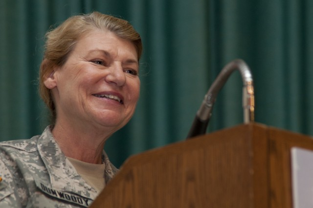 Gen. Ann E. Dunwoody, commanding general of U.S. Army Materiel Command, speaks during the Women's History Month Observance on Fort Monroe, Va., March 29, 2010. U.S. Army Training and Doctrine Command and 633d Air Base Wing hosted the Women's History Month Observance with guest panelists Dunwoody, Honorable Thelma Drake, Susan Kilrain, and Cmd. Sgt. Maj. Teresa King. (U.S. Army photo by Sgt. Angelica Golindano) (RELEASED)
