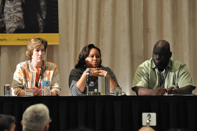 Dr. Ann Munch, Veraunda Jackson, and Daryl Fort take questions as part of a panel of subject matter experts at the third annual Army Sexual Harassment/Assault Response and Prevention summit in Arlington, Va., Monday.