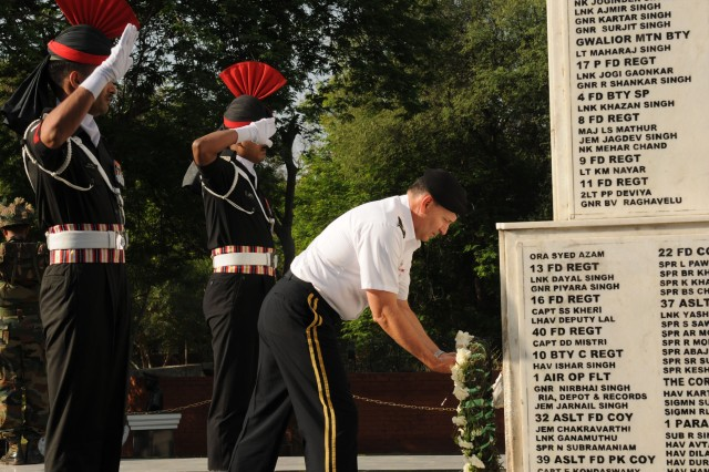 Lt. Gen. Benjamin R. Mixon, commanding general, U.S. Army, Pacific, lays a wreath in front of a war memorial at the Indian Army Western Command Headquarters in Chandigarh, India, March 22. Mixon, along with 13 other senior leaders and planners from USARPAC, Marine Forces Pacific, Special Operations Command Pacific and Department of the Army, met with senior Indian Army officers for the 14th Executive Steering Group in Chandigarh. The working group determined the bilateral engagements for the next year.