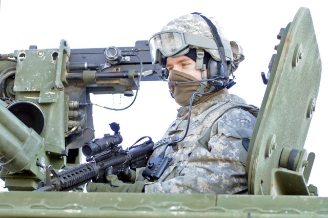 A Soldier with the 73rd Engineer Company secures the perimeter from the Stryker March 25 during a recent dismount squad clearing exercise at the Pvt. Joseph P. Martinez Combined Arms Collective Training Facility, Fort Wainwright, Alaska.