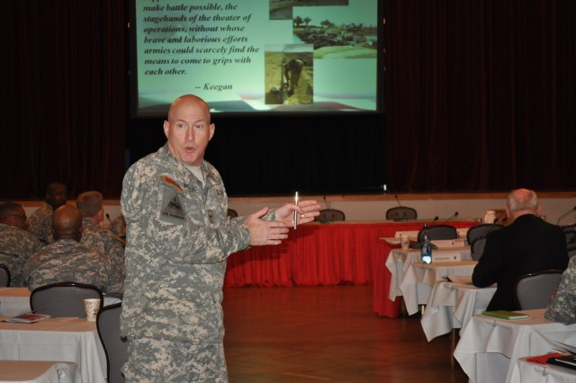 Brig. Gen. Bryan Watson, the commandant of the U.S. Army Engineer School, discusses the effectiveness of engineers in the Army during the Maneuver Support Conference March 24 at Patrick Henry Village in Heidelberg. Engineers and other leaders throughout the Army gathered to share their experiences with engineer forces and how to better utilize engineer capabilities.