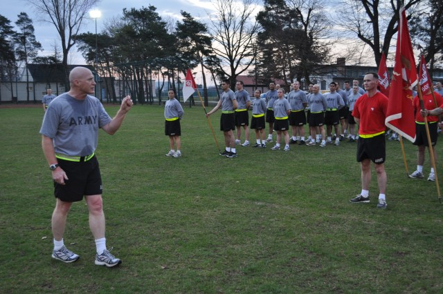 Brig. Gen. Bryan Watson, the commandant of the U.S. Army Engineer School, speaks to Soldiers of the 18th Engineer Brigade after an Esprit de Corps March 26 at Tompkins Barracks in Schwetzingen.