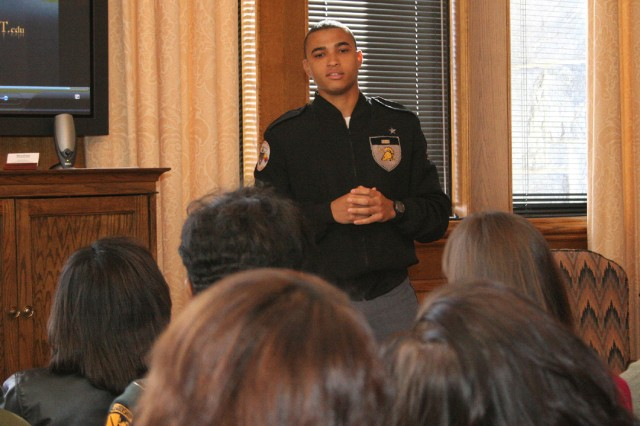 """Yearling Pablo Rivera shares a """"Day in the Life"""" dialogue with a group of educators from around the country during a Minority Educators Visit March 24."""