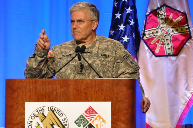 Chief of Staff of the Army Gen. George W. Casey Jr. speaks to leadership during the Association of the United States Army's 2010 Army Installations Symposium & Exposition in San Antonio, Texas.