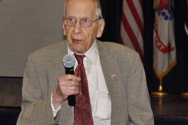 "Retired Gen. Ralph Haines addresses the audience March 30 at the Army Women's History Month commemoration at Fort Sam Houston praising the women who have made it through the ranks in today's Army. ""Women are achievers, and if you give them a chance they will rise up to the top level,"" he said. ""I don't think women have yet reached their full potential."""