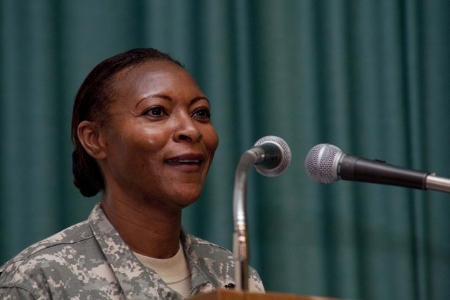 Cmd. Sgt. Maj. Teresa King, commandant of the U.S. Army Drill Sergeant School, speaks during the Women's History Month Observance on Fort Monroe, Va., March 29, 2010. U.S. Army Training and Doctrine Command and 633d Air Base Wing hosted the Women's History Month Observance with panelists King,  Honorable Thelma Drake; Gen. Ann E. Dunwoody, commanding general of U.S. Army Materiel Command; Susan Kilrain.