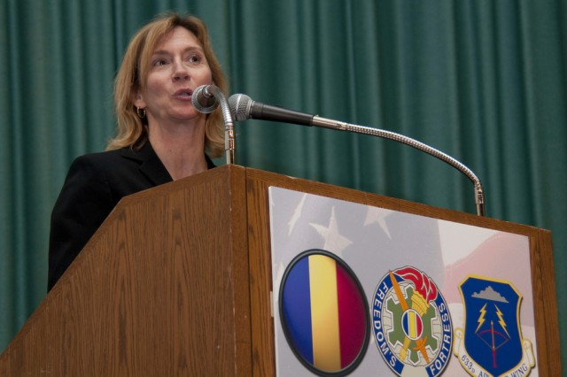Susan Kilrain, retired U.S. Navy commander and former NASA astonaut, speaks during the Women's History Month Observance on Fort Monroe, Va., March 29, 2010. U.S. Army Training and Doctrine Command and 633d Air Base Wing hosted the Women's History Month Observance with guest panelists Kilrain, Honorable Thelma Drake; Gen. Ann E. Dunwoody, commanding general of U.S. Army Materiel Command; and Cmd. Sgt. Maj. Teresa King.