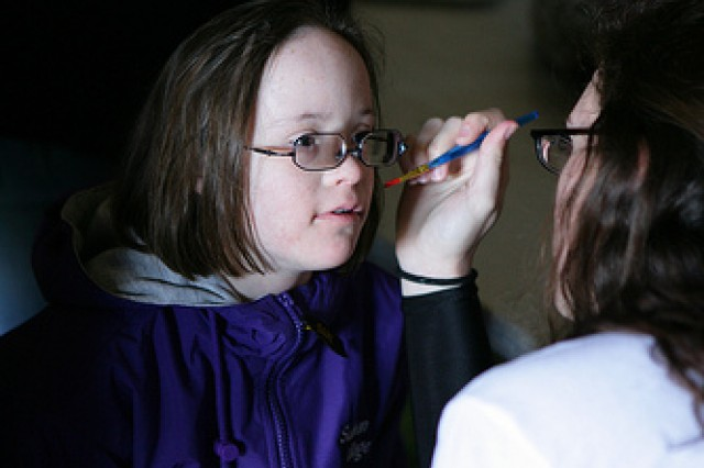 Alexis Perren, a student from Sullivan Village Elementary School, gets her face painted during Special Olympics March 26, 2010 at Prichard Field at Fort Sill, Okla.