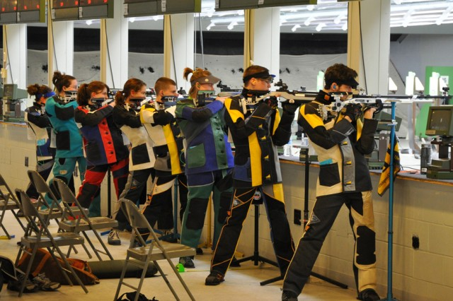 Junior shooters in the precision class compete in the day-two finals during the U.S. Army Junior Air Rifle Championships March 23 at the U.S. Army Marksmanship Unit's Pool Indoor Range.  This is the fourth year the Army has sponsored the event.