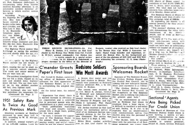 This is the front page of the first Redstone Rocket, published Feb. 5, 1952.