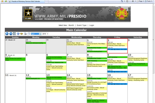 This view shows the Main Calendar view with all of the events from all public calendars displayed.