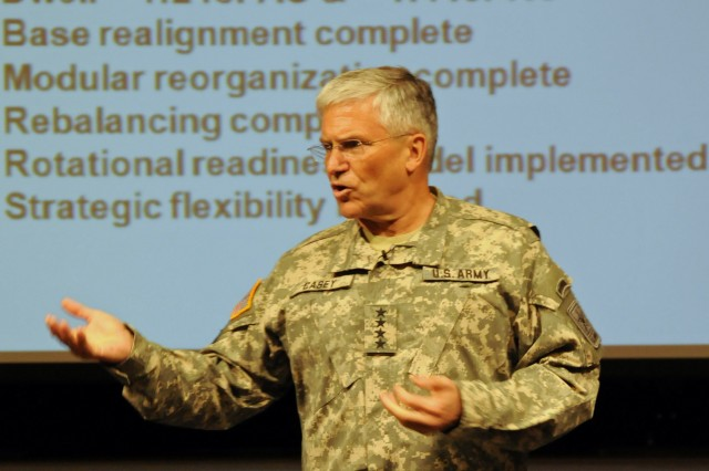 Army Chief of Staff Gen. George W. Casey Jr. tells tells those gathered at the Army Leader Forum in the Pentagon, April 6, that much has been accomplished in the last three years.