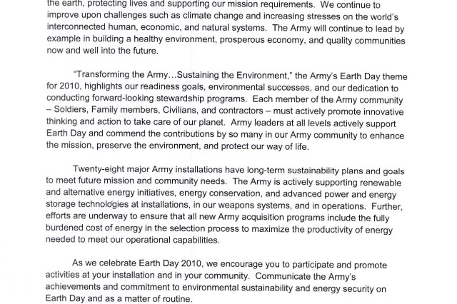 The Army's Earth Day theme for 2010 is: Transforming the Army...Sustaining the Environment.