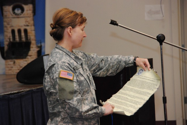 Col. Mary Garr, garrison commander, reads the Child Abuse Prevention and Awareness proclamation during the kick-off ceremony at Fort Sam Houston.