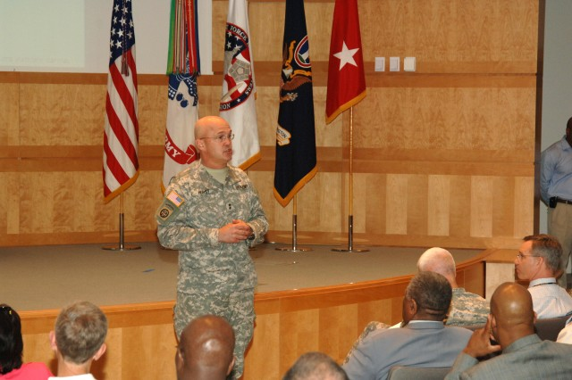 Maj. Gen. Karl R. Horst, commanding general, Joint Force Headquarters-National Capital Region and The U.S. Army Military District of Washington, address employees at the 2nd Quarter Town Hall Meeting on April 8, 2010. The Town Hall included an awards ceremony, long range calendar review, update on organizational day, information on the social media workshop, upcoming events, comments by Maj. Gen. Horst and a questions and answer session.