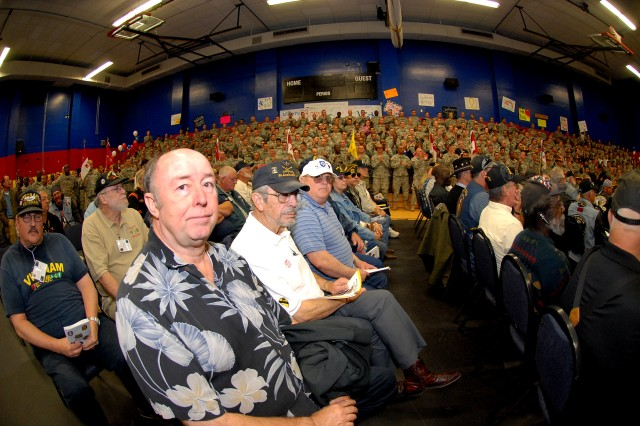 Veterans from the Vietnam War filled the center of Freedom Fitness Gym on Fort Irwin during the Fort Irwin Welcome Home Day Ceremony, April 7.