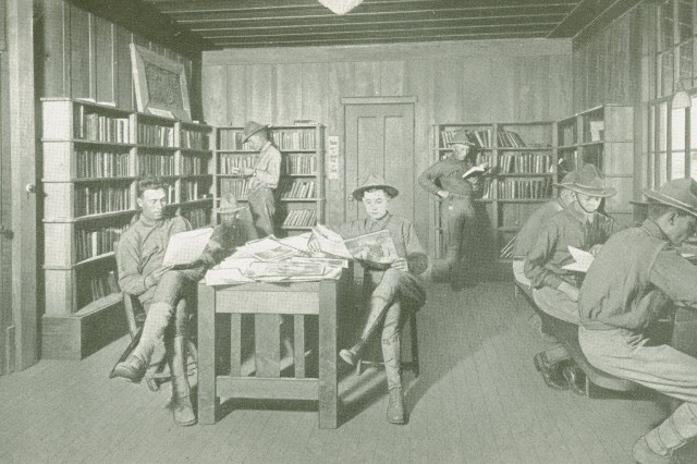 Knights of Columbus Library: This image shows the Knights of Columbus sponsored library  located at Camp Kearney, California. (WWI Signal Corps Collection).