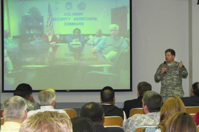 Brig. Gen. Chris Tucker, USASAC commander, hosts a town hall with employees at Redstone Arsenal, Fort Belvoir and New Cumberland.