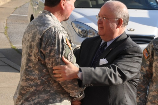 Gen. Charles C. Campbell, U.S. Army Forces Command (FORSCOM) commanding general, welcomes Army Under Secretary Joseph W. Westphal to FORSCOM Headquarters here. The purpose of Westphal's visit was to gain an in-depth understanding of Army operations relative to U.S. Army Forces Command (FORSCOM), U.S. Army Reserve Command (USARC), U.S. Army Central Command (USARCENT) and First Army,