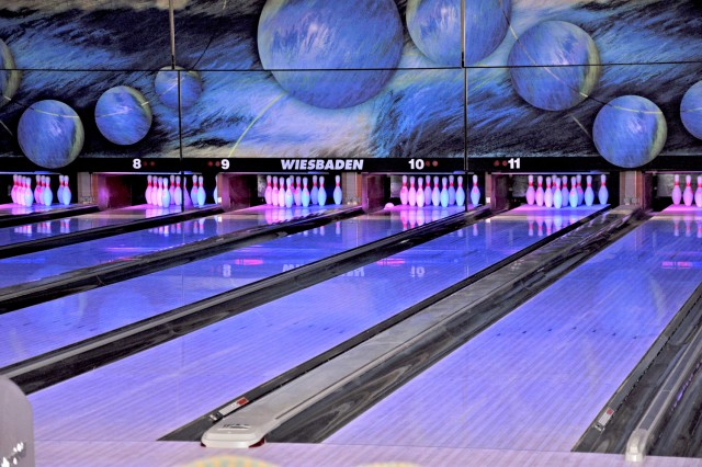 Sixteen bowling lanes await customers at the new Wiesbaden Entertainment Center.