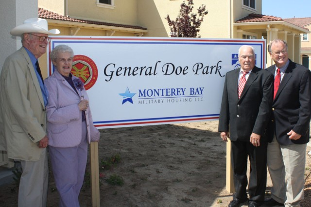 PRESIDIO OF MONTEREY, Calif. - Congressman Sam Farr, (far right) U.S. Representative from California's 17th District, poses with (right to left), Tom and Camilla May, and Charles Ricks at the unveiling of the Dedication sign for General Doe Park housing at Ord Military Community.