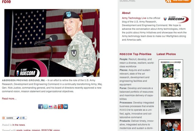 Army Technology Live has daily updates on job opportunities, science and technology news and links to social media sites.