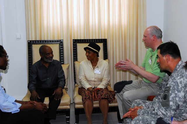 Congresswoman Barbara Lee and Congressman Joseph Crowley visit with the President of Haiti Rene Preval. (Photo by Spc. William R. Begley, 11th PAD)