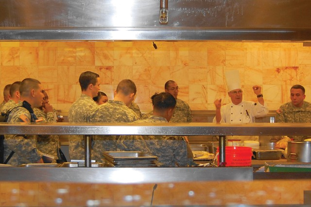 Food service personnel from across the Army receive a briefing on hotel operations from Michael Norton, executive chef for the John Ascuaga's Nugget Hotel in Reno, Nev. The Soldiers were selected by their units as a reward for competing and placing either first or second in the 2010 Philip A. Connelly Awards Program. Units chose individuals with as little as two-years experience to those veteran food service personnel with more than 15 years.
