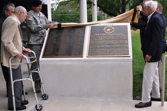 The Solopilots Memorial is unveiled April 12 at the Army Medical Department Museum at Fort Sam Houston, Texas.