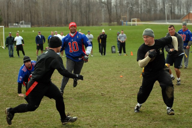 1-32 Infantry officers, NCOs go head to head on football field