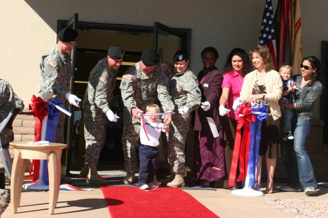 Fort Huachuca dignitaries gathered Saturday to officially open the new Child Development Center, Building 49055 on post.  After the ribbon cutting ceremony guests toured the five million dollar state of the art facility.  The event was held in conjunction with Month of the Military Child Celebration.